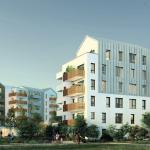 pinel-angers-résidence neuve espaces verts ciel sombre