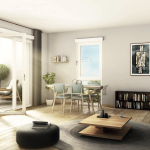 programme-pinel-angers-salon meublé parquet baie vitrée ouverte sur terrasse