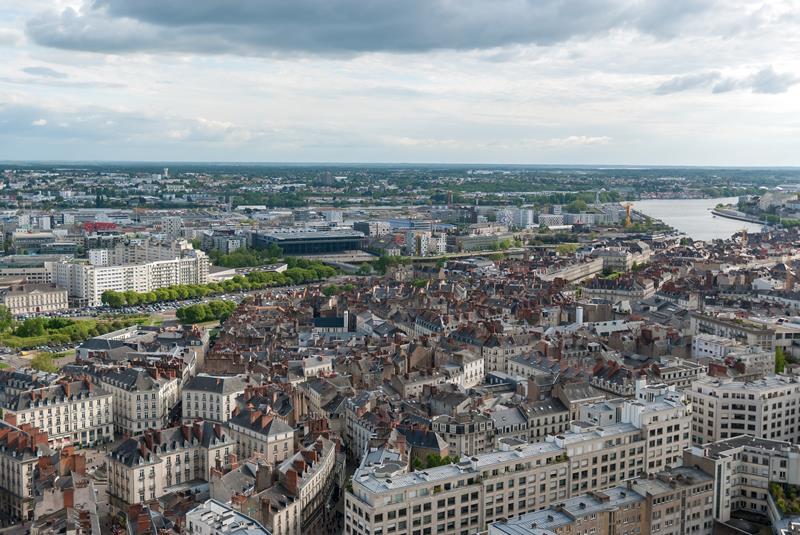 marché immobilier nantes. Vue aérienne de Nantes