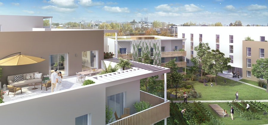 programme neuf angers-terrasse en dernier etage couple vue sur jardin ciel bleu