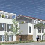 acheter pour louer-résidence neuve arbres parking passants ciel sombre