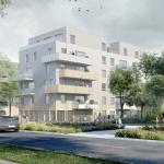 acheter un appartement pour le louer-résidence neuve rue passants espaces verts ciel bleu