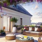 immo neuf angers-terrasse meublée fleurs vue sur la ville soirée