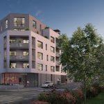 Immobilier Nantes. immeuble blanc et gris 3D précédé par des arbres