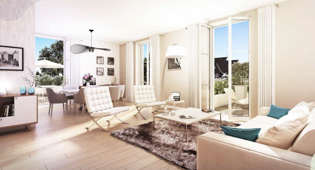investissement locatif rentable-salon salle à manger meublé parquet baie vitrée ouverte sur terrasse