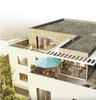 investissement locatif rentable-terrasse en dernier etage salon de jardin parasol