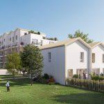 placement immobilier-résidence neuve jardins enfants qui jouent ciel bleu