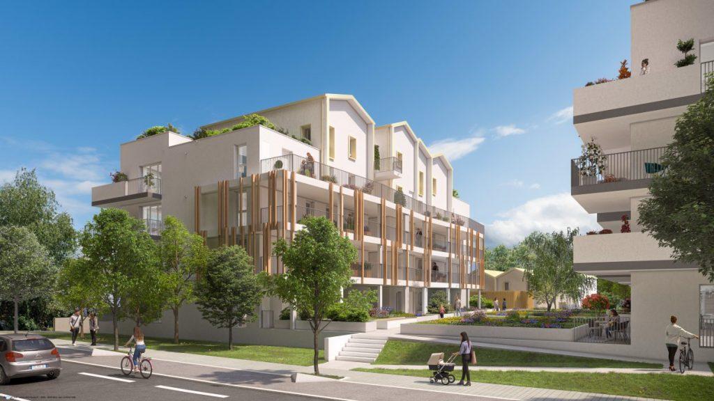 placement immobilier-résidence neuve rue passants espaces verts ciel bleu