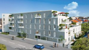 programme neuf-résidence neuve balcons fleuris rue passants voiture ciel bleu