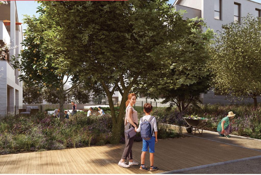 programme neuf la rochelle-espaces verts personnes qui jardinent immeubles