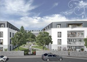 achat appartement-résidence neuve espaces verts rue voitures ciel nuageux