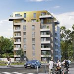 acheter louer-résidence neuve espaces verts rue passants voitures ciel nuageux