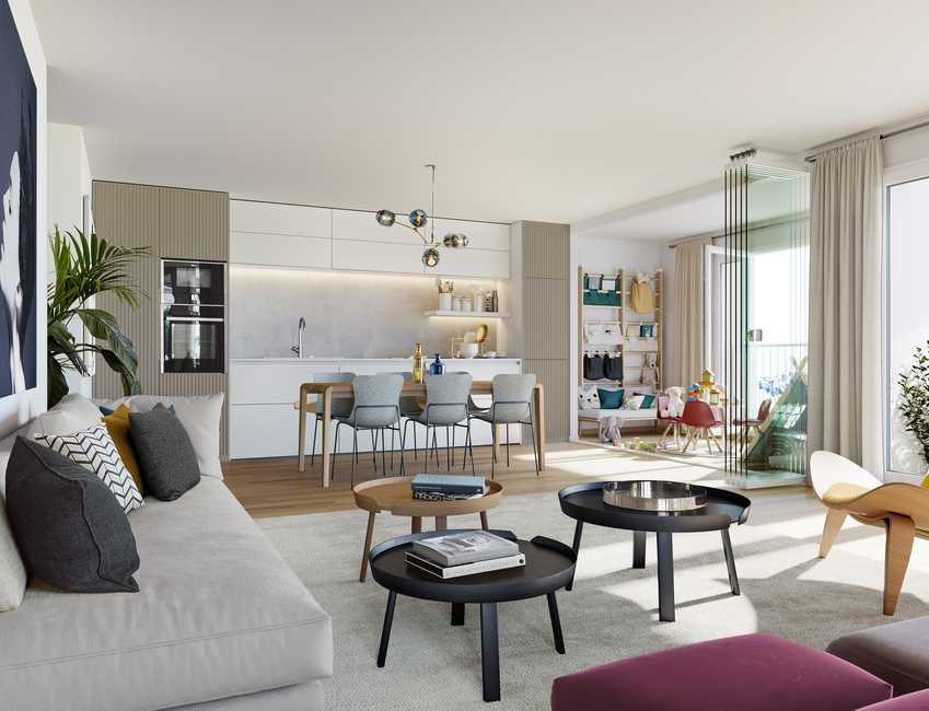 appartement a vendre-séjour meublé cuisine équipée coin jeu enfants