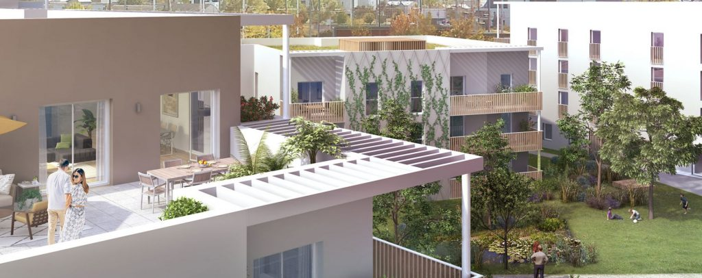 appartement loi pinel-terrasse meublée couple plantes vue sur jardin