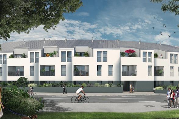 defisc pinel-résidence neuve rue passants ciel bleu