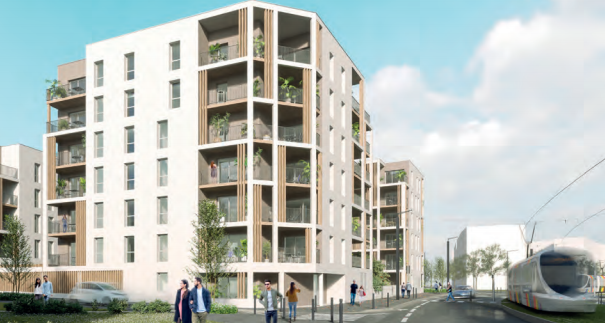 immobilier neuf angers-résidence neuve rue passants tramway ciel nuageux
