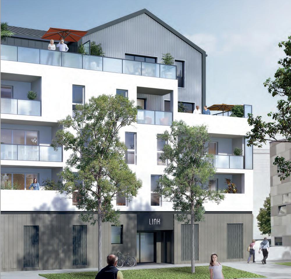acheter un appartement-façade résidence neuve espaces verts passants ciel bleu