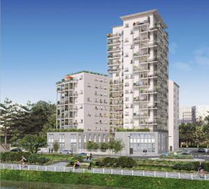 appartement pinel nantes-résidence neuve espaces verts rue passants ciel bleu