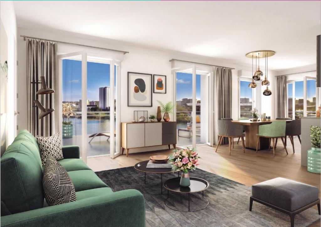 appartement pinel nantes-séjour meublé baies vitrées ouvertes sur terrasse vue fleuve soirée