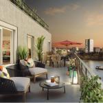 appartement pinel nantes-terrasse meublée vue sur fleuve soirée