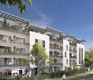 immo angers-résidence neuve balcons fleuris arbres ciel bleu