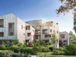 immobilier locatif-résidence neuve entourée d'espaces verts ciel bleu