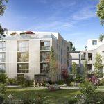 immobilier locatif-résidence neuve jardin arbres ciel bleu