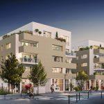 immobilier neuf nantes-résidence neuve rue arbres passants voiture soirée