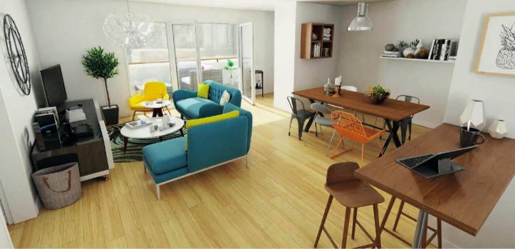 immobilier sables d'olonne-séjour meublé parquet baie vitrée ouverte sur terrasse