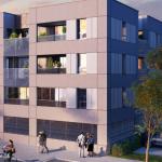location meublée non professionnelle-façade immeuble neuf rue passants ciel sombre