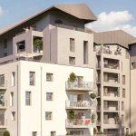 pinel-résidence neuve balcons fleuris arbres ciel bleu