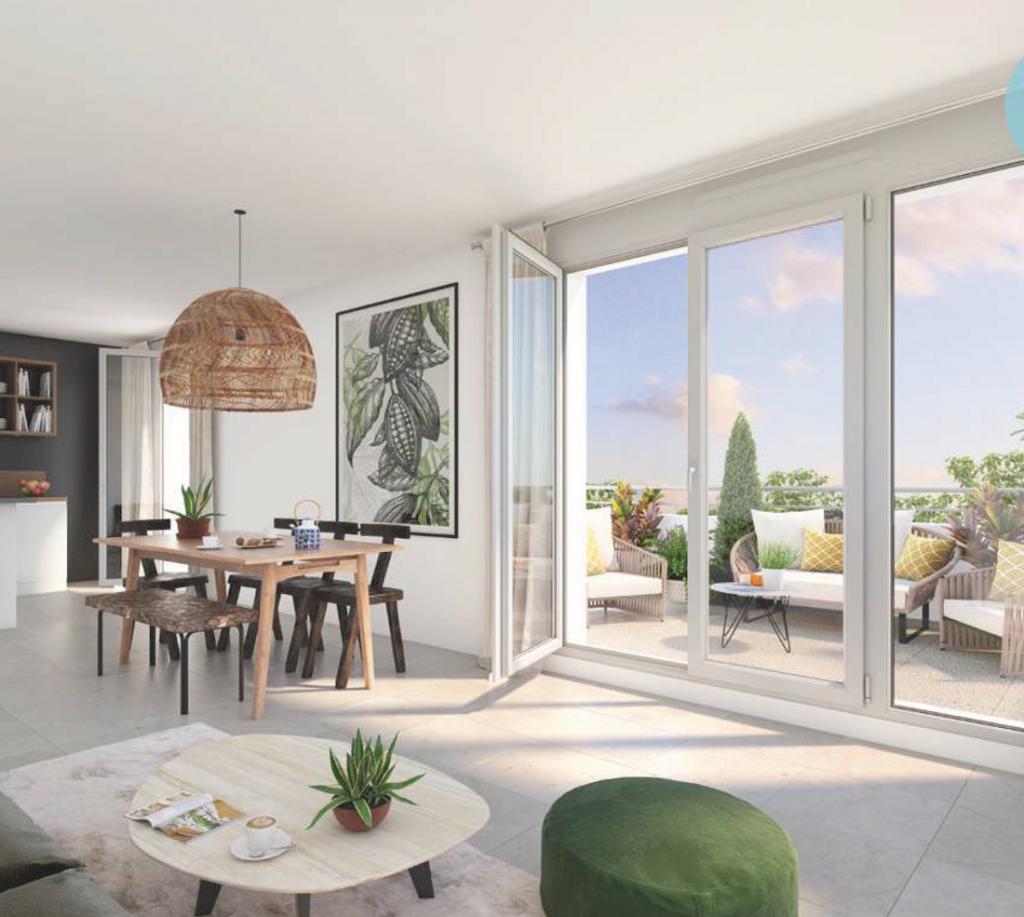 pinel-séjour meublé baie vitré ouverte sur terrasse salon de jardin