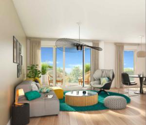 programme immobilier neuf nantes-salon meublé coin repas parquet baie vitrée ouverte sur terrasse ciel bleu