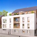 appartement neuf-façade de résidence neuve espaces verts rue passants