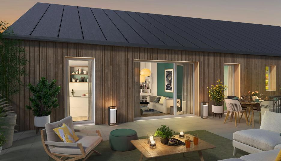 appartement neuf-terrasse meublée vue sur salon soirée