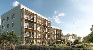 bouguenais-résidence neuve espaces verts ciel bleu