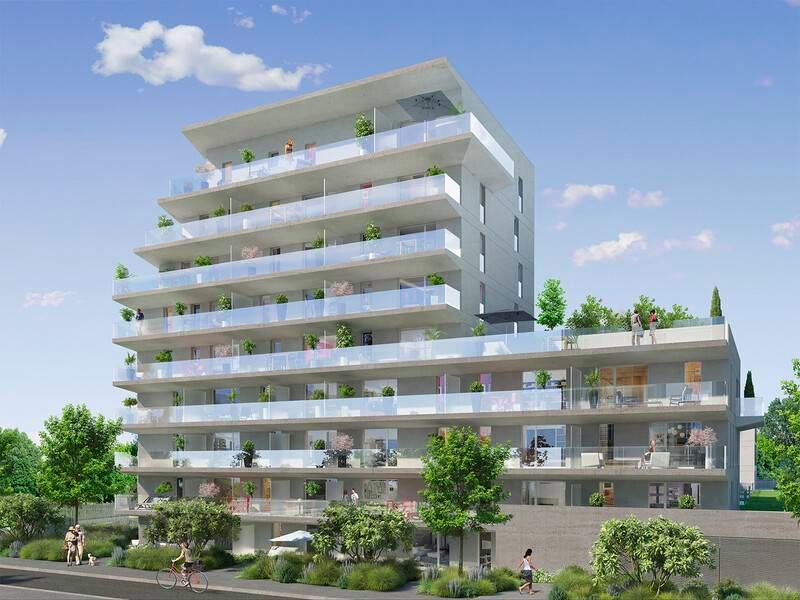 immo neuf nantes-façade résidence neuve balcons fleuris espaces verts ciel bleu