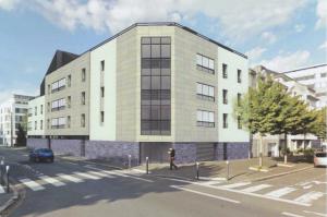 investir-façade immeuble neuf rue ciel nuageux