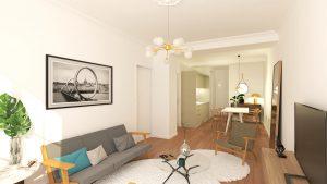investir dans la pierre-salon cuisine équipée parquet murs blancs