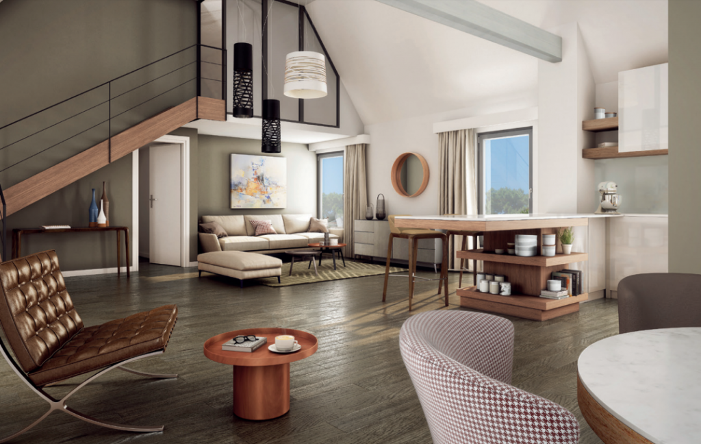 investir dans l'immobilier locatif-séjour meublée coin cuisine escalier parquet