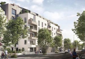 investir pinel-résidence neuve rue arbres passants voitures ciel nuageux