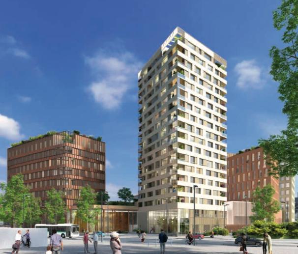 pinel nantes-quartier euronantes immeubles rue passants ciel bleu