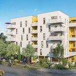 programme neuf nantes-résidence neuve balcons fleuris espaces verts rue passants ciel bleu