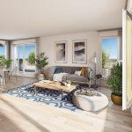programme neuf nantes-sejour meublé cuisine équipée baie vitrée ouverte sur terrasse